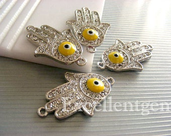 Evil eye connectors, Sale-5pcs High quality silver tone rhinestone Hands of Fatima Hamsa Bracelet Connector