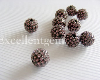 10pcs New jet tone with Pink color Crystal rhinestones Connector beads in 10mm