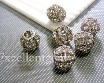 10pcs silver plated High quality Czech crystal rhinestones brass beads