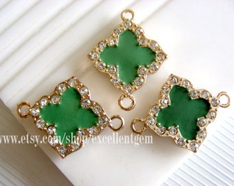 10pcs Gold plated Duble-sided Rhinestone Clover Connector with green color-25mmx22mm