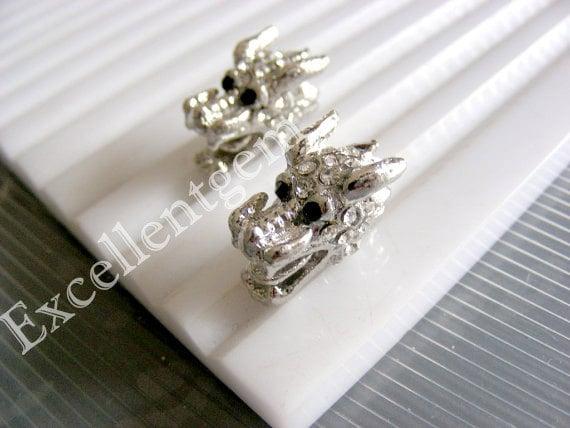 5pcs Dragon beads , Platinum tone with clear crystal rhinestone