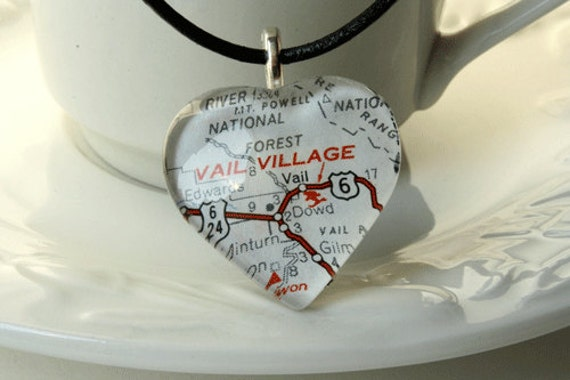 Map Jewelry, Necklace, Glass Heart Necklace,Vail Colorado, 1973 Colorado Map, Vail Village, Colorado, Gifts, Colorado Gift Ideas