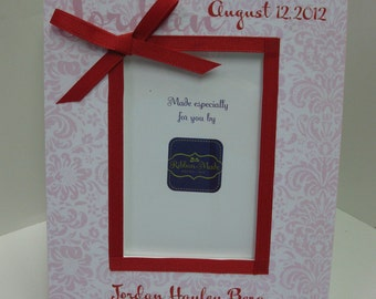 Baby Girl Personalized Birthdate Vertical Frame
