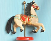 Vintage Hand Painted Wooden Carousel Horse Figurine