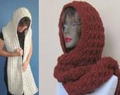 Hooded scarf,hoodie in Spice,Scoodie,hoodie,crochet hooded scarf,hooded scarf,hoodie in handmade,scarve scarf (choose your color below)