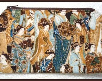 Zipper Bag Handmade with Asian Oriental Fabric