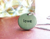 love sterling silver round disc necklace matte finish