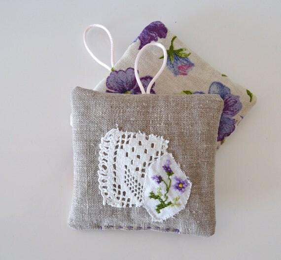 pansies lavender sachets -  set of 2 - linen - mothersday gift - cottage home decor - lavender and linen