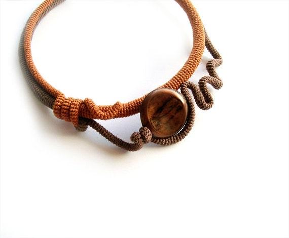 Fashion Crochet Choker Autumn Fantasy Burnt Orange Brown Wearable Art Noteworthy Gift