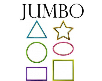 """JUMBO Applique Shapes Machine Embroidery Design Patterns Circles, Squares, Ovals, Rectangles, Triangles, Stars 7"""", 8"""", 9"""" and 10"""""""