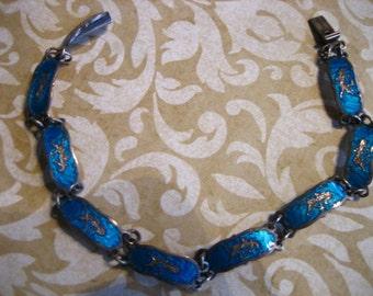 Vintage Sterling Silver Blue Enamel Siam Link Bracelet