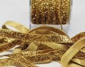 Velvet Metallic Trim -- 3/8 inch -- Gold Rush -- Gold Glitter Nylon Ribbon
