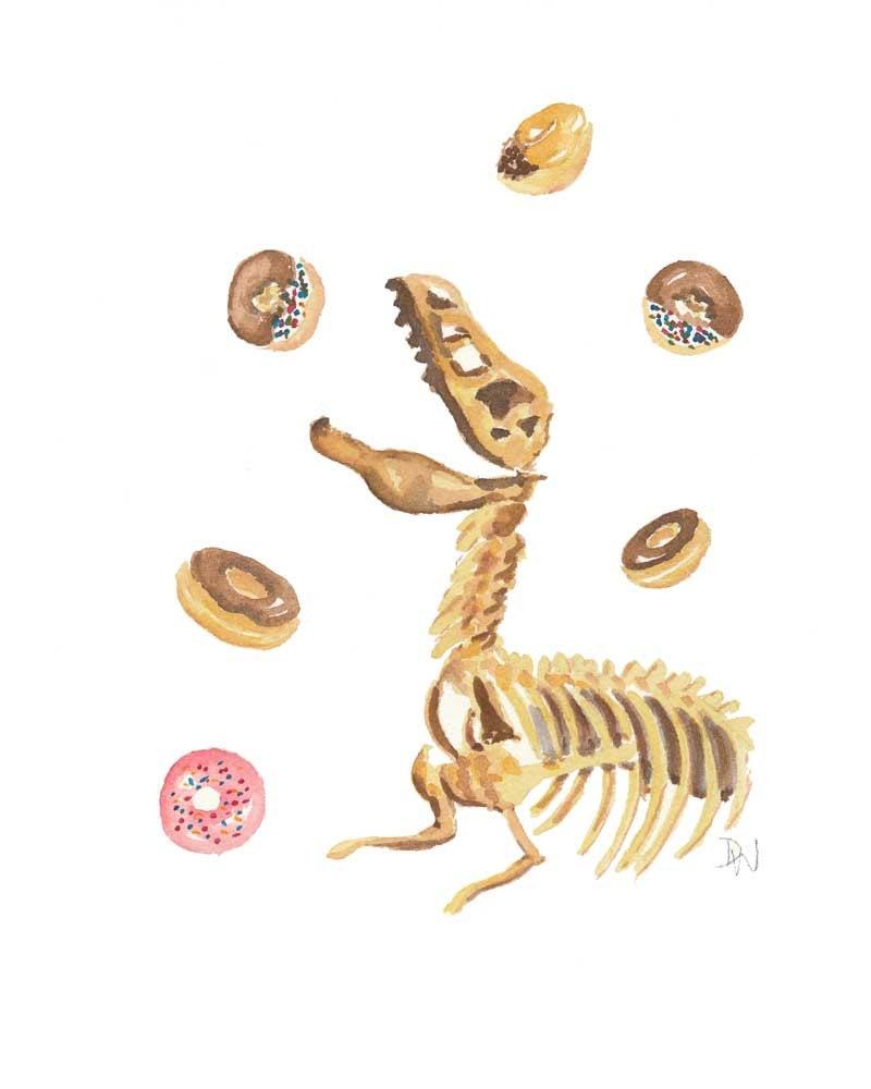 Donut Dinosaur Watercolour Original Painting Dino Bones