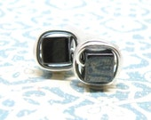 Dark Gray Hematite Square Silver Wire Wrapped Post Stud Earrings