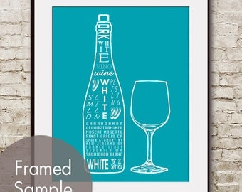 White Wine and Glass (Top Shelf Alcohol Series) Art Print (Featured in Oceanic Blue) Buy 3 Get One Free