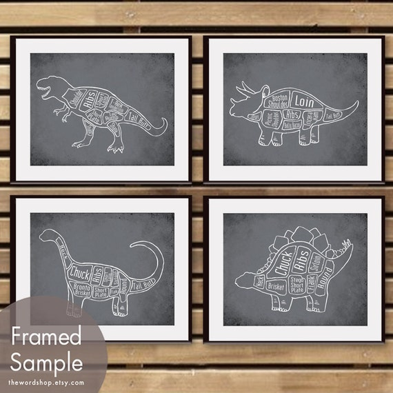 Dinosaur Butcher Diagram Series - Set of 4 Art Prints (Featured in Charcoal) Prehistoric Animal Art Prints