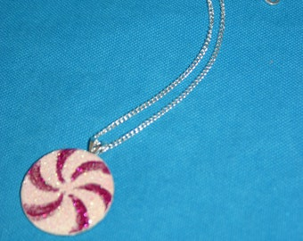 Glitter Pendant -- Hot Pink Peppermint Sparkle Resin Necklace