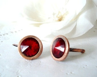 Vintage Copper and Crimson Red Rivoli Earrings - Pierced - Lever Back - 1960