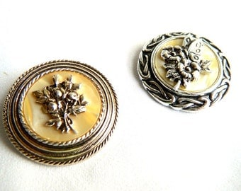 Vintage Butterflies & Flowers MOP Scarf Clips - Set of 2 - 'Silver and Gold'