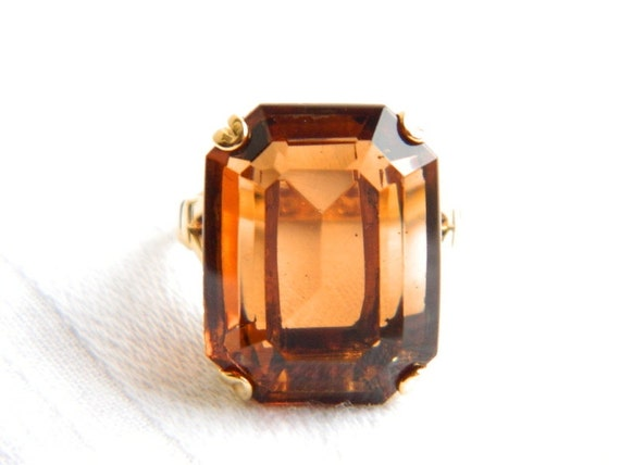 Vintage AVON Gold Topaz Emerald Cut Ring - SIGNED - 1970 - Big Chunky