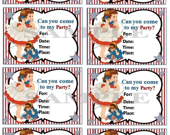 Party Invitations Vintage Girl with doll on phone Set of 8  Digital, Printable, download, DIY,Birthday