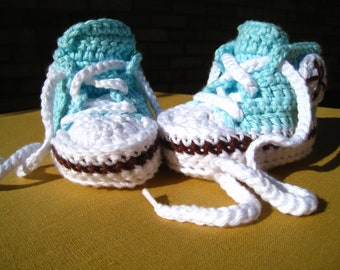 CROCHET PATTERN  - baby high tops, baby sneakers, baby tennis shoes, baby basketball shoe, photo prop, PDF pattern