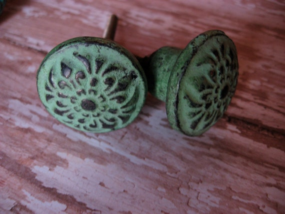 Set of 4 Bohemian Verdi Green Knobs or Pulls for your Drawers Cabinets or Armoire Shabby Cottage Chic