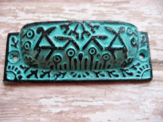 RSVD for Mary Set of 4 Bright Aqua Blue and Black Art Deco Tribal Style Drawer Pulls Handles for your Home Cabinets Dresser or Drawers