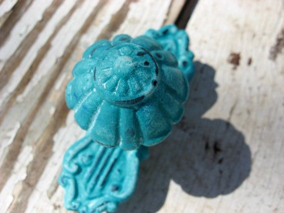 Reserved for Cat Set of 18 Shabby Chic Distressed Turquoise Vintage Style Knobs or Pulls for Dressers or Cabinets