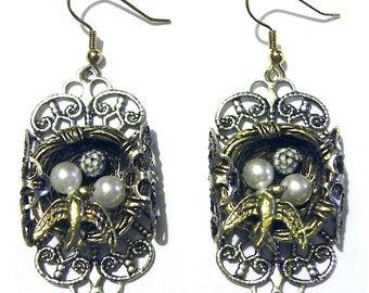 Bird Nest Steampunk Earrings Silver Filigree and Gold with Pearl Eggs
