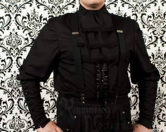 Victorian shirt for men with pleated trim