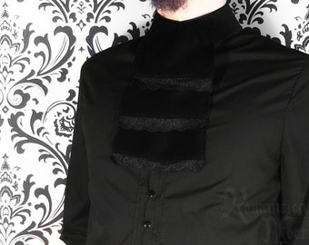Victorian jabot for men, three-tiered black velvet with lace
