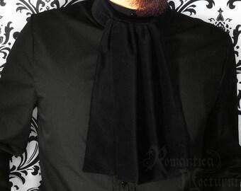 Victorian jabot for men, black velvet