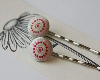 Cream Pink and Red Fractal Dots Fabric Covered Bobby Pin Set - Set of 2 Pins
