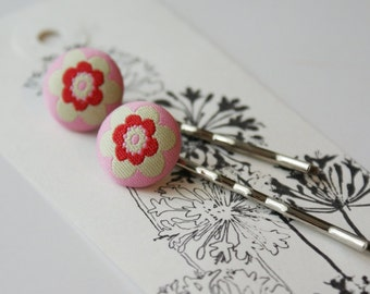Sweet Daisy Chain Pink and Red Flower Fabric Covered Bobby Pin Set - Set of 2 Pins