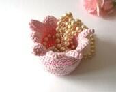 Pink Tulip Basket. Bowl Multiuse Romantic Spring Nature Decor Crochet Garden Collection