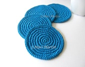Aqua Light Round Crochet Coasters . Beverage Drink, Tea Coffee Decor Crochet Cute Collection - Set of 4