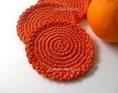 Crochet Coasters Orange Round . Tangerine Citrus Mandarin Juice, Beverage Drink, Decor Crochet Cute Collection - Set of 4
