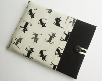 ipad case sleeve for ipad 2, new ipad -PADDED - FRONT POCKET- lovely cat