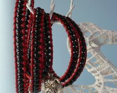 5 Wrap bracelet black onyx red leather
