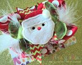 Christmas Santa Holiday Boutique Style Hair Bow Red Lime Green Chevron Red White Polka Dots White Marabou