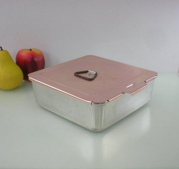 Mirro Aluminum Baking Pan 8x8 Pink Sliding Lid By