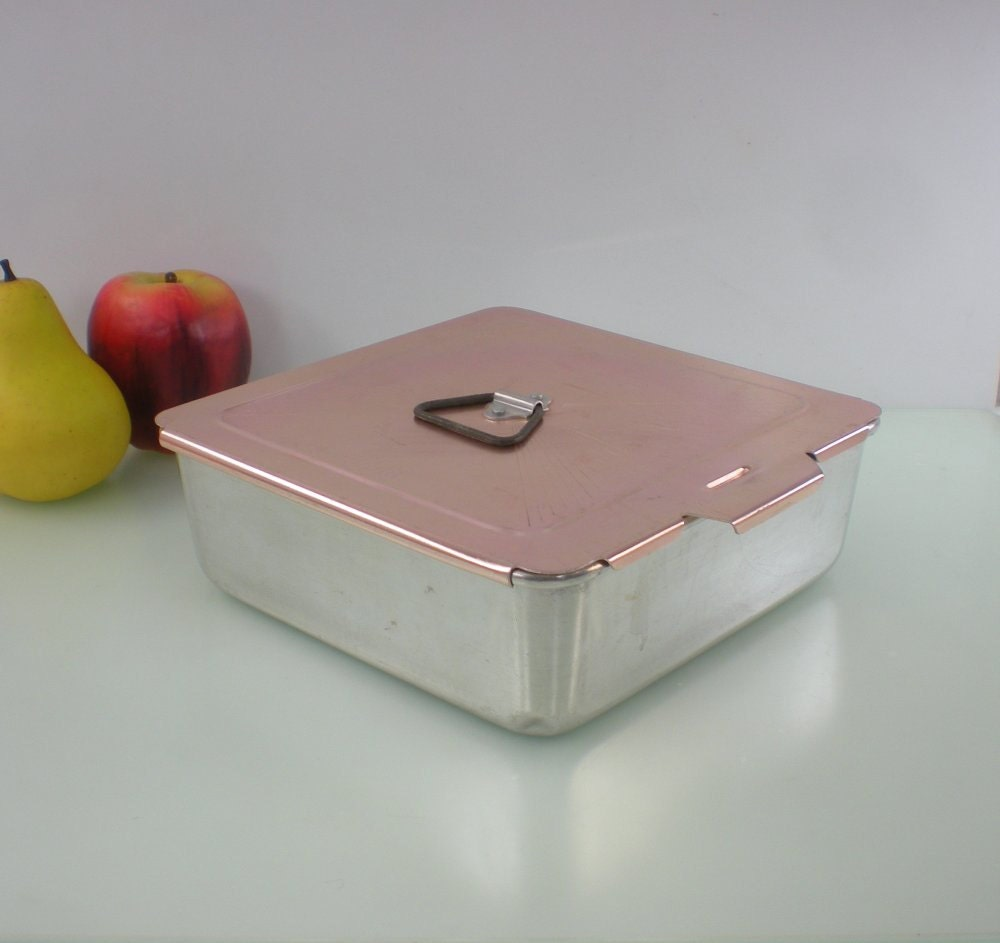 Mirro Aluminum Baking Pan 8x8 Pink Sliding Lid By