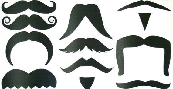 Fu Manchu Mustache Clip Art 12 different mustache stickers