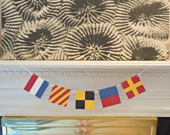 Custom Nautical Flag Paper Banner - 4 or 5 Flags