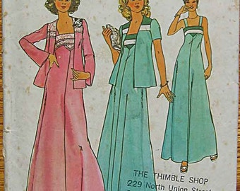 Vintage 70's Boho Misses' and Juniors' Maxi Dress and Jacket, Simplicity 7269 Sewing Pattern Size 10