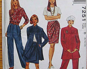 Easy Misses' Jacket, Wrap Skirt, Top, Pants, McCall's 7251 Sewing Pattern UNCUT Sizes 8, 10, 12