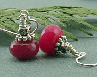 Jewelry, Earrings, Ruby Earrings, Ruby Earrings On Sterling Silver Ear Wires, Ruby Jade Earrings, Gift For Her, Bridesmaids Gift