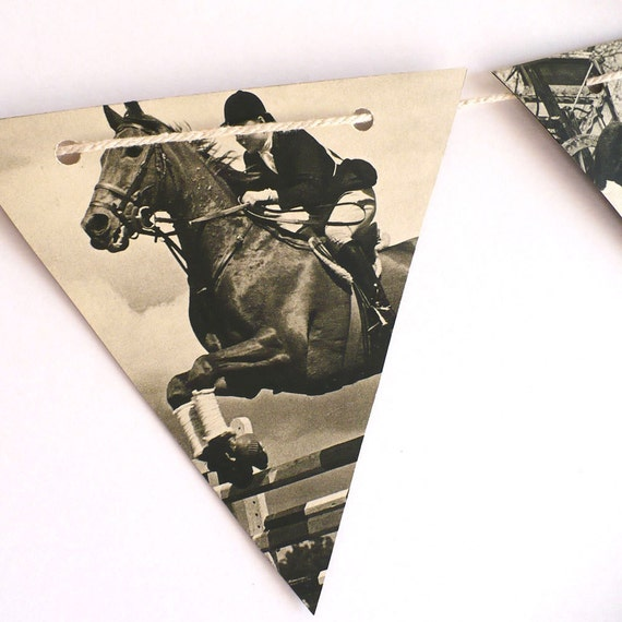 HORSES decoration, vintage paper bunting, handmade from Black ands white photographs, bedroom decor horses