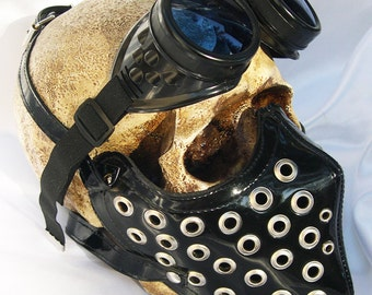 2 pc. set of Black Patent Eyelet Steampunk Dust Riding MASK with Matching GOGGLES - A Burning Man Must Have